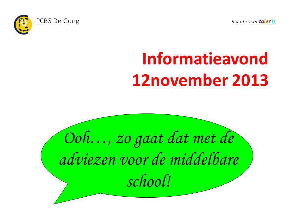 Informatieavond 12november 2013 Ooh…, zo gaat dat met de adviezen voor de middelbare school!