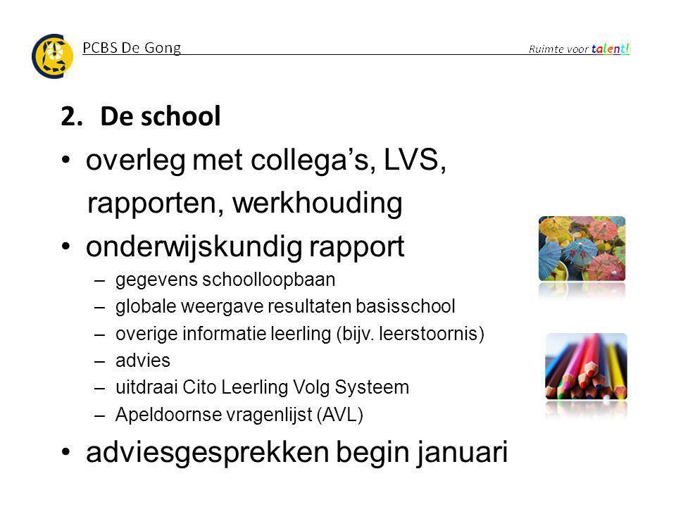 2.De school overleg met collega's, LVS, rapporten, werkhouding onderwijskundig rapport –gegevens schoolloopbaan –globale weergave resultaten basisscho