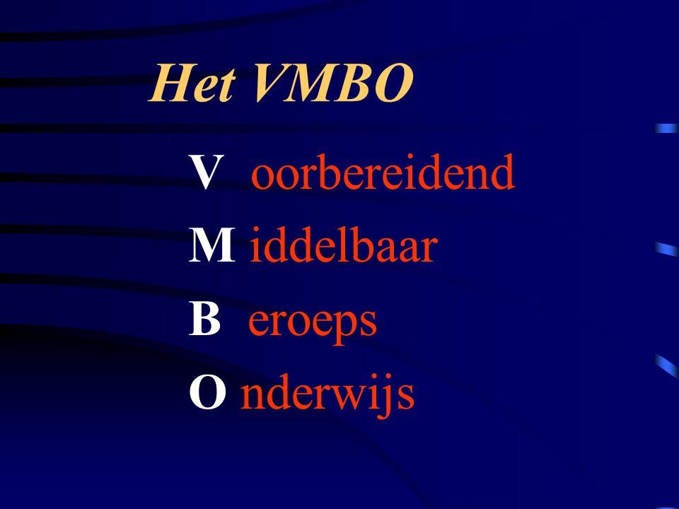 V oorbereidend M iddelbaar B eroeps O nderwijs Het VMBO