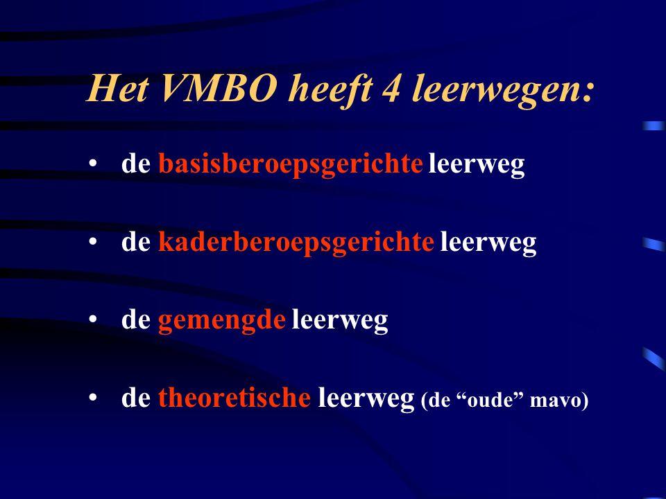 Het VMBO heeft 4 leerwegen: de basisberoepsgerichte leerweg de kaderberoepsgerichte leerweg de gemengde leerweg de theoretische leerweg (de oude mavo)