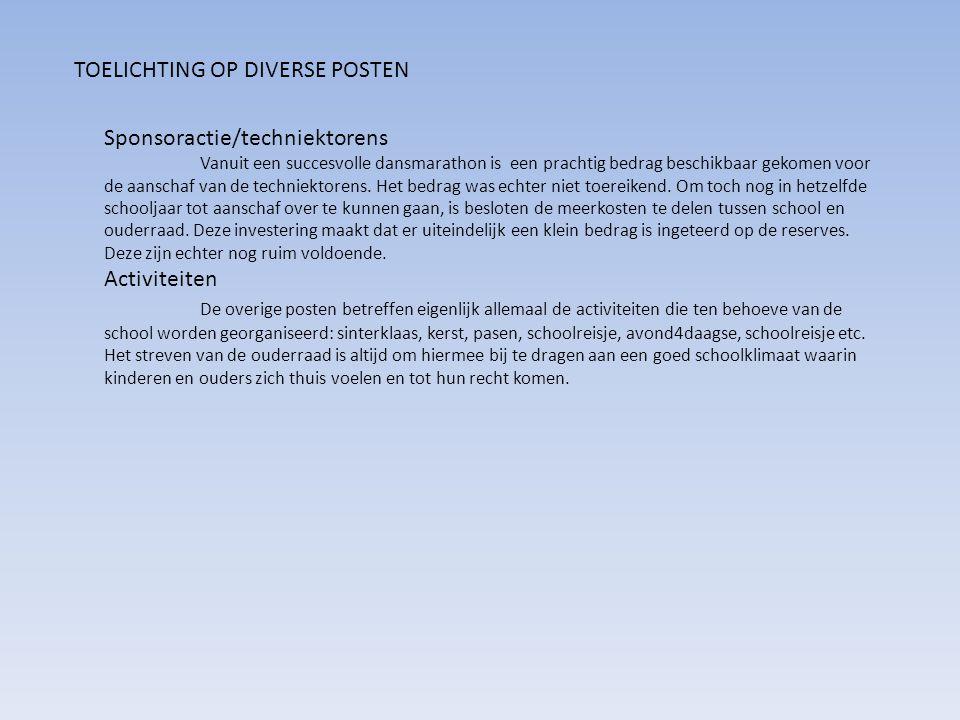 TOELICHTING OP DIVERSE POSTEN Sponsoractie/techniektorens Vanuit een succesvolle dansmarathon is een prachtig bedrag beschikbaar gekomen voor de aanschaf van de techniektorens.