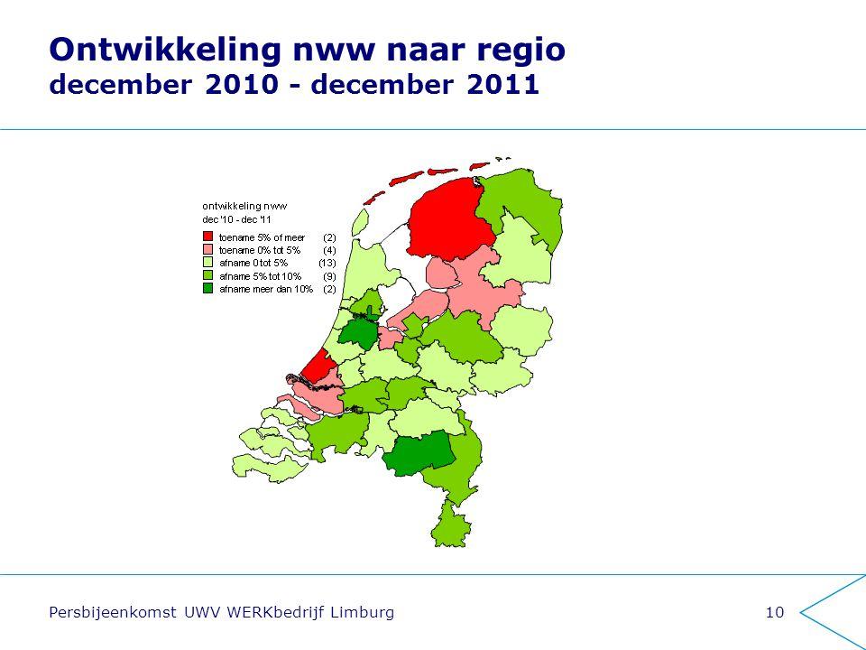 Persbijeenkomst UWV WERKbedrijf Limburg10 Ontwikkeling nww naar regio december 2010 - december 2011