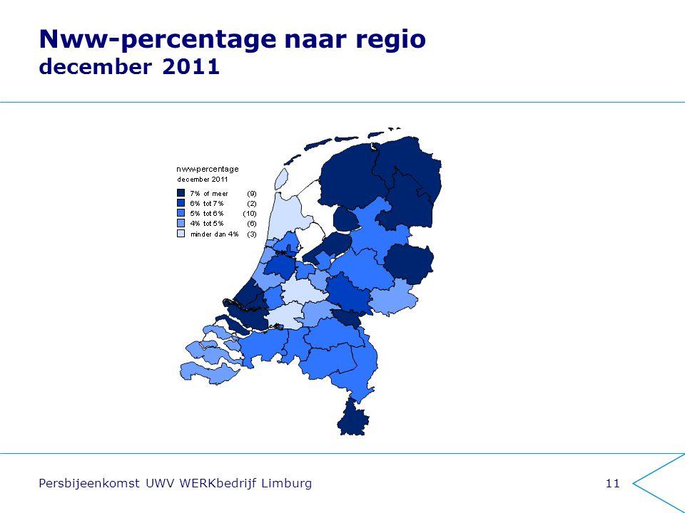 Persbijeenkomst UWV WERKbedrijf Limburg11 Nww-percentage naar regio december 2011