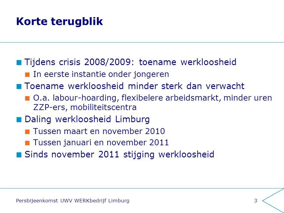 Persbijeenkomst UWV WERKbedrijf Limburg3 Korte terugblik Tijdens crisis 2008/2009: toename werkloosheid In eerste instantie onder jongeren Toename wer