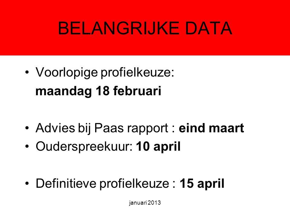 BELANGRIJKE DATA Voorlopige profielkeuze: maandag 18 februari Advies bij Paas rapport : eind maart Ouderspreekuur: 10 april Definitieve profielkeuze : 15 april januari 2013