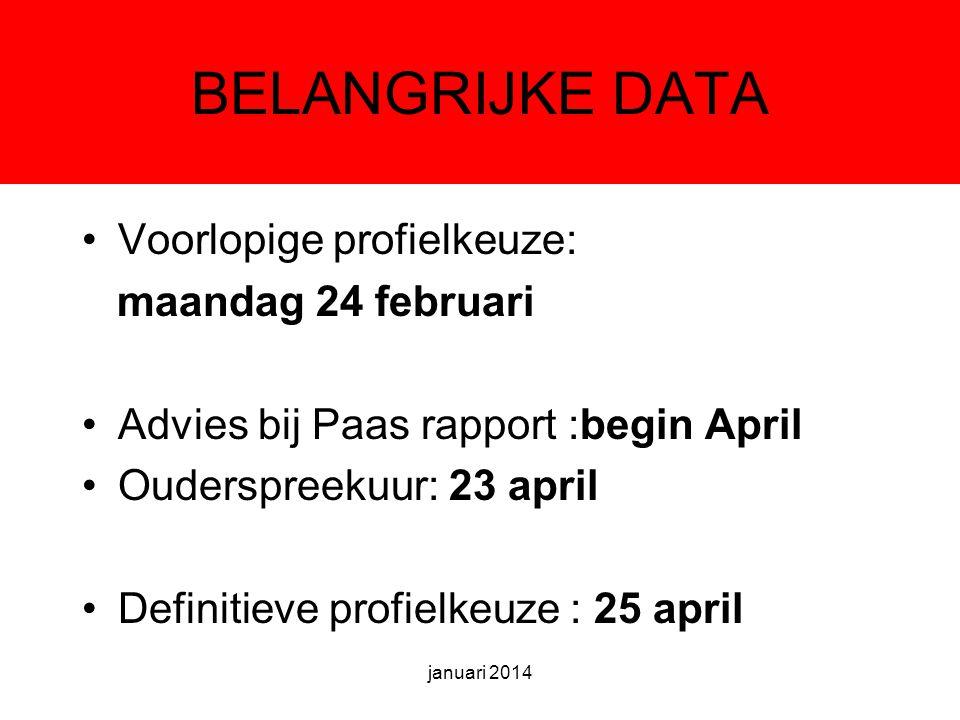 BELANGRIJKE DATA Voorlopige profielkeuze: maandag 24 februari Advies bij Paas rapport :begin April Ouderspreekuur: 23 april Definitieve profielkeuze : 25 april januari 2014