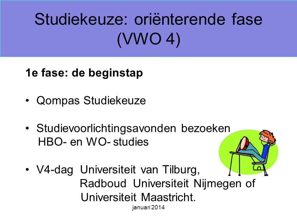 januari 2014 Studiekeuze: oriënterende fase (VWO 4) 1e fase: de beginstap Qompas Studiekeuze Studievoorlichtingsavonden bezoeken HBO- en WO- studies V4-dag Universiteit van Tilburg, Radboud Universiteit Nijmegen of Universiteit Maastricht.