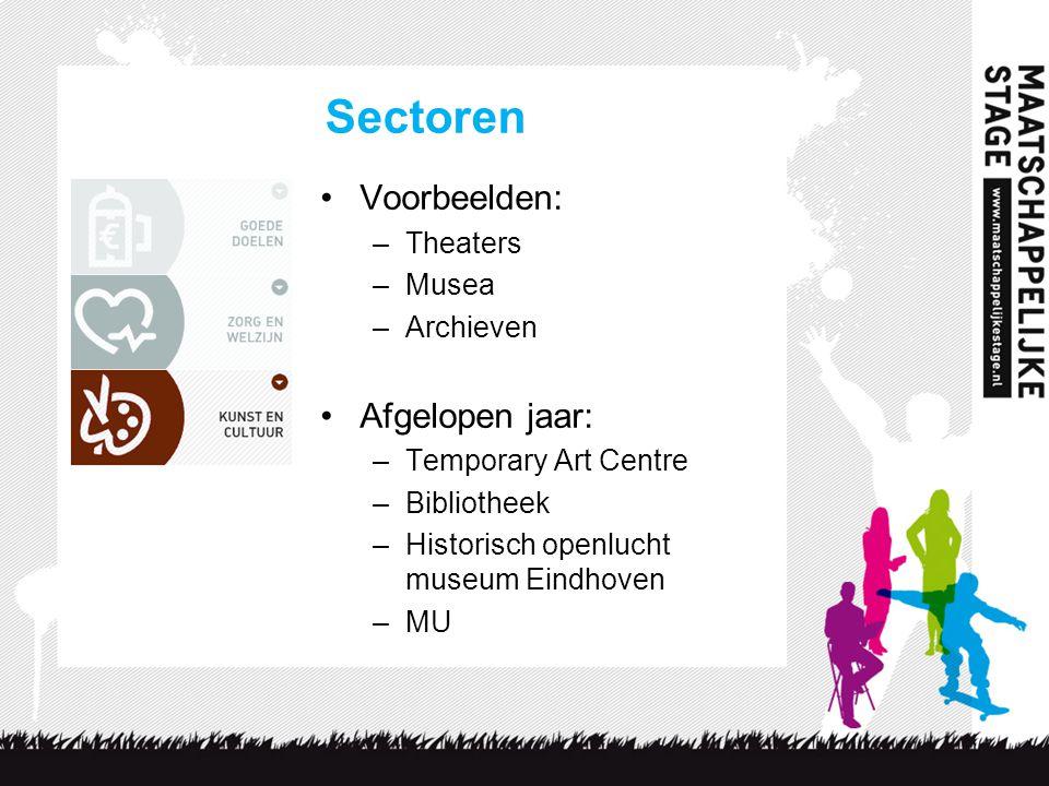 Sectoren Voorbeelden: –Theaters –Musea –Archieven Afgelopen jaar: –Temporary Art Centre –Bibliotheek –Historisch openlucht museum Eindhoven –MU