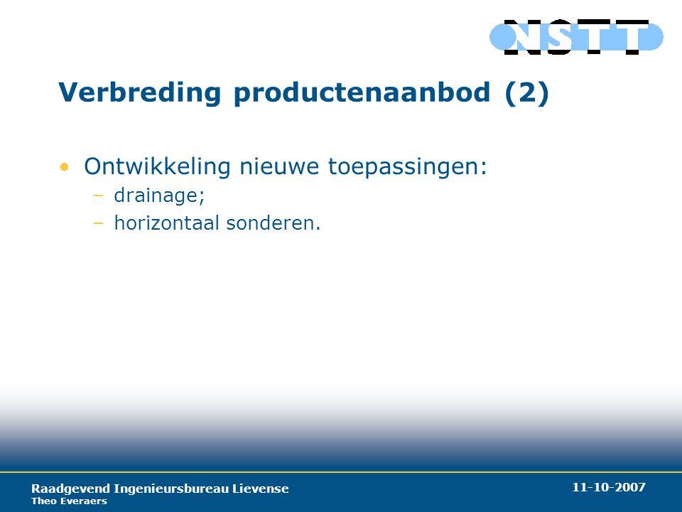 Raadgevend Ingenieursbureau Lievense Theo Everaers 11-10-2007 Verbreding productenaanbod (2) Ontwikkeling nieuwe toepassingen: –drainage; –horizontaal