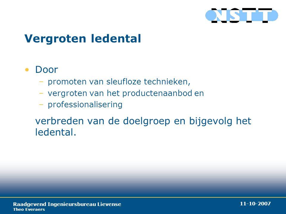 Raadgevend Ingenieursbureau Lievense Theo Everaers 11-10-2007 Vergroten ledental Door –promoten van sleufloze technieken, –vergroten van het productenaanbod en –professionalisering verbreden van de doelgroep en bijgevolg het ledental.