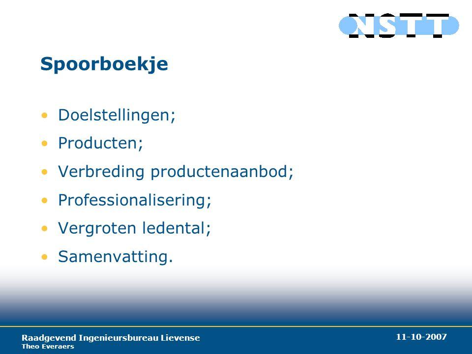 Raadgevend Ingenieursbureau Lievense Theo Everaers 11-10-2007 Spoorboekje Doelstellingen; Producten; Verbreding productenaanbod; Professionalisering; Vergroten ledental; Samenvatting.