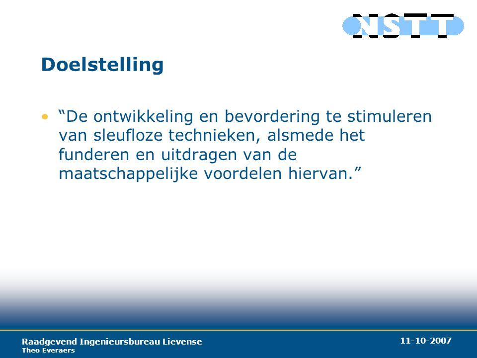 Raadgevend Ingenieursbureau Lievense Theo Everaers 11-10-2007 Doelstelling De ontwikkeling en bevordering te stimuleren van sleufloze technieken, alsmede het funderen en uitdragen van de maatschappelijke voordelen hiervan.