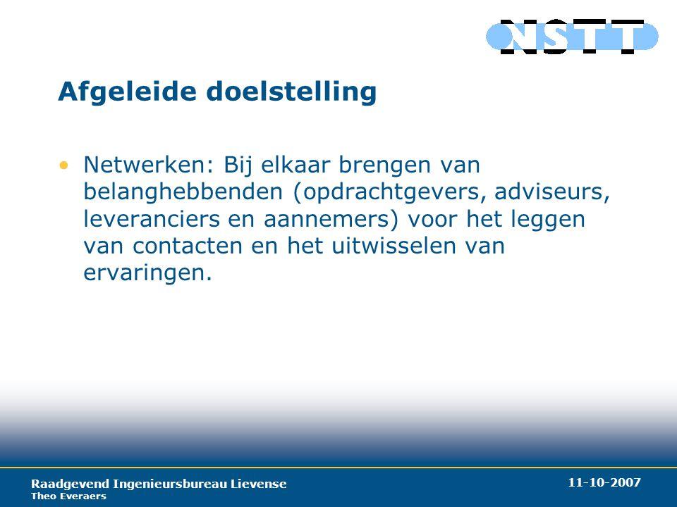 Raadgevend Ingenieursbureau Lievense Theo Everaers 11-10-2007 Producten (1) Organiseren van activiteiten Toepassingen sleufloze technieken Promoten sleufloze technieken.