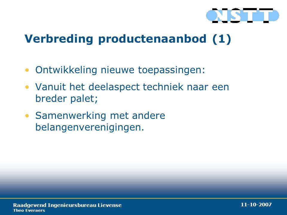 Raadgevend Ingenieursbureau Lievense Theo Everaers 11-10-2007 Verbreding productenaanbod (2) Ontwikkeling nieuwe toepassingen: –drainage; –horizontaal sonderen.