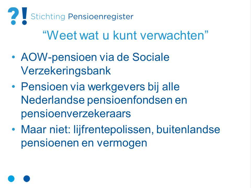 Weet wat u kunt verwachten AOW-pensioen via de Sociale Verzekeringsbank Pensioen via werkgevers bij alle Nederlandse pensioenfondsen en pensioenverzekeraars Maar niet: lijfrentepolissen, buitenlandse pensioenen en vermogen