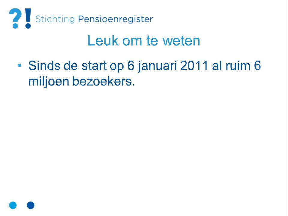 Leuk om te weten Sinds de start op 6 januari 2011 al ruim 6 miljoen bezoekers.