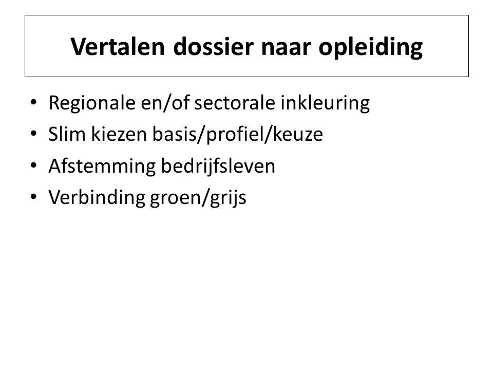 Vertalen dossier naar opleiding Regionale en/of sectorale inkleuring Slim kiezen basis/profiel/keuze Afstemming bedrijfsleven Verbinding groen/grijs