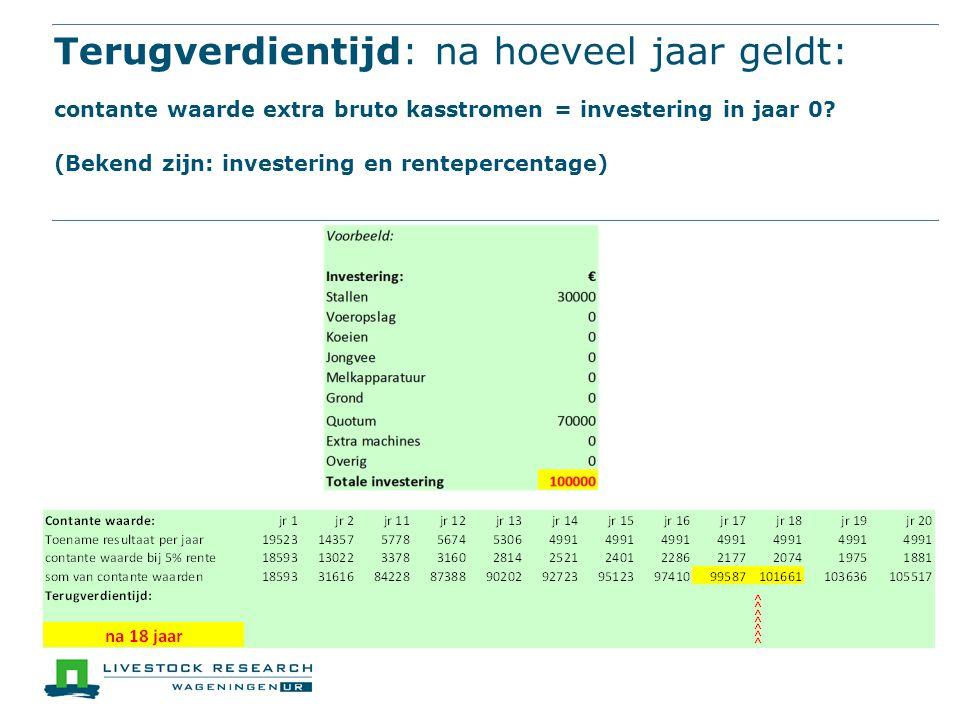 Terugverdientijd: na hoeveel jaar geldt: contante waarde extra bruto kasstromen = investering in jaar 0? (Bekend zijn: investering en rentepercentage)