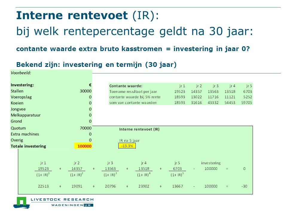 Interne rentevoet (IR): bij welk rentepercentage geldt na 30 jaar: contante waarde extra bruto kasstromen = investering in jaar 0.