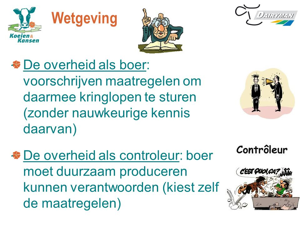 Wetgeving De overheid als boer: voorschrijven maatregelen om daarmee kringlopen te sturen (zonder nauwkeurige kennis daarvan) De overheid als controle