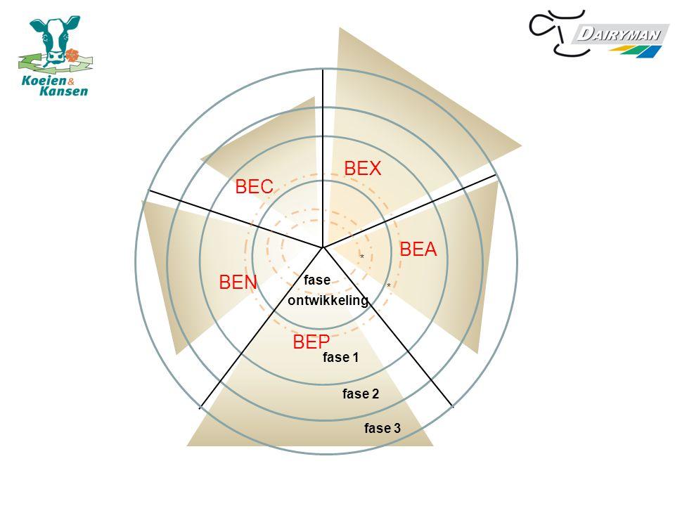 BEX BEA BEP BEN BEC ontwikkeling * * fase 1 fase 2 fase 3 fase