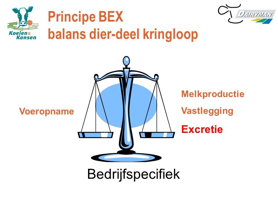 Principe BEX balans dier-deel kringloop Melkproductie Vastlegging Excretie Voeropname Bedrijfspecifiek