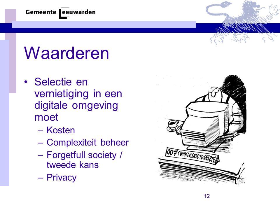 12 Waarderen Selectie en vernietiging in een digitale omgeving moet –Kosten –Complexiteit beheer –Forgetfull society / tweede kans –Privacy