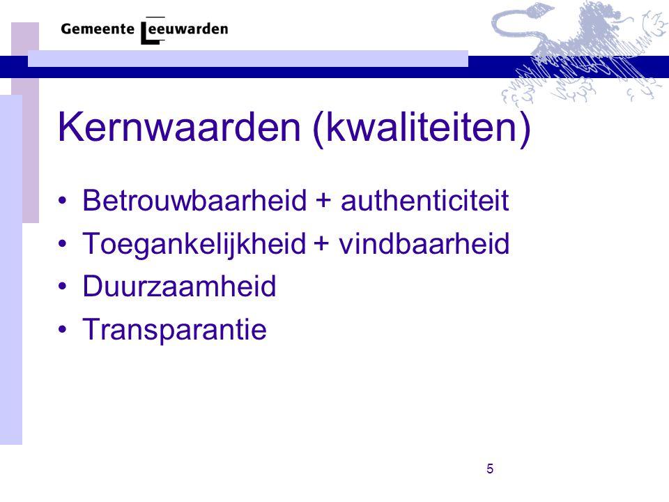 5 Kernwaarden (kwaliteiten) Betrouwbaarheid + authenticiteit Toegankelijkheid + vindbaarheid Duurzaamheid Transparantie