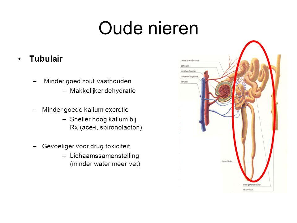 Oude nieren Tubulair – Minder goed zout vasthouden –Makkelijker dehydratie –Minder goede kalium excretie –Sneller hoog kalium bij Rx (ace-i, spironola