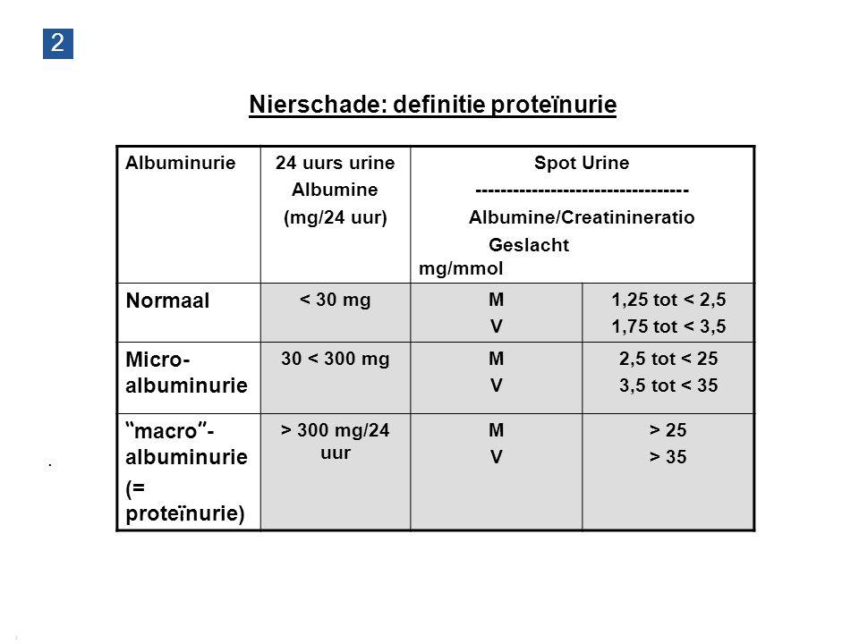 2 Richtlijn CNS 2009   Achtergrond, definitie, prevalentie van chronische nierschade 22 2 Nierschade: definitie proteïnurie Albuminurie24 uurs urine A