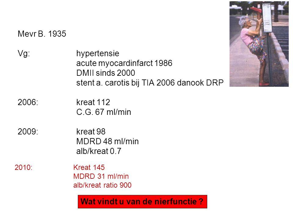 Mevr B. 1935 Vg: hypertensie acute myocardinfarct 1986 DMII sinds 2000 stent a. carotis bij TIA 2006 danook DRP 2006: kreat 112 C.G. 67 ml/min 2009:kr
