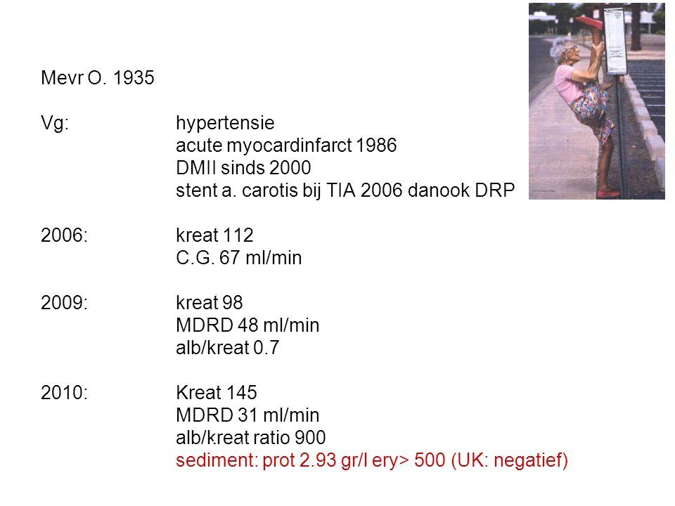 Mevr O. 1935 Vg: hypertensie acute myocardinfarct 1986 DMII sinds 2000 stent a. carotis bij TIA 2006 danook DRP 2006: kreat 112 C.G. 67 ml/min 2009:kr