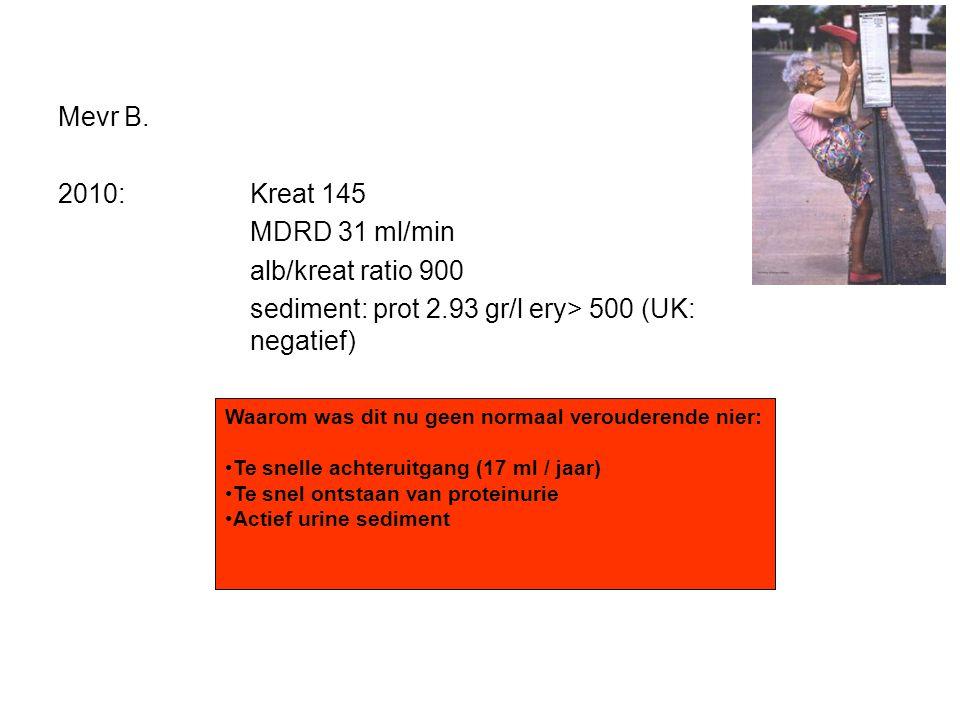 Mevr B. 2010:Kreat 145 MDRD 31 ml/min alb/kreat ratio 900 sediment: prot 2.93 gr/l ery> 500 (UK: negatief) Wat vind u van de nierfunctie Waarom was di