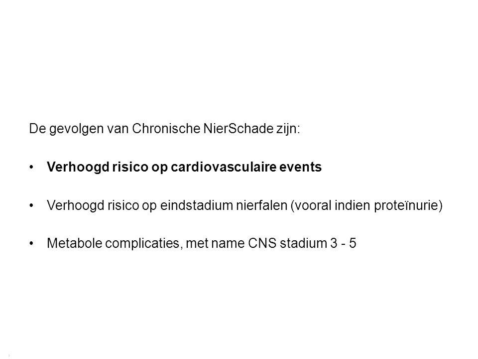 Richtlijn CNS 2009 | Gevolgen van chronische nierschade 29 2 De gevolgen van Chronische NierSchade zijn: Verhoogd risico op cardiovasculaire events Ve