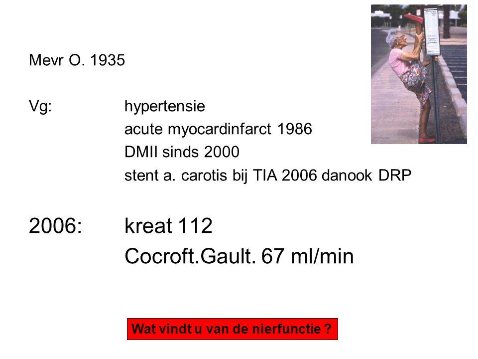 Mevr O.1935 Vg: hypertensie acute myocardinfarct 1986 DMII sinds 2000 stent a.