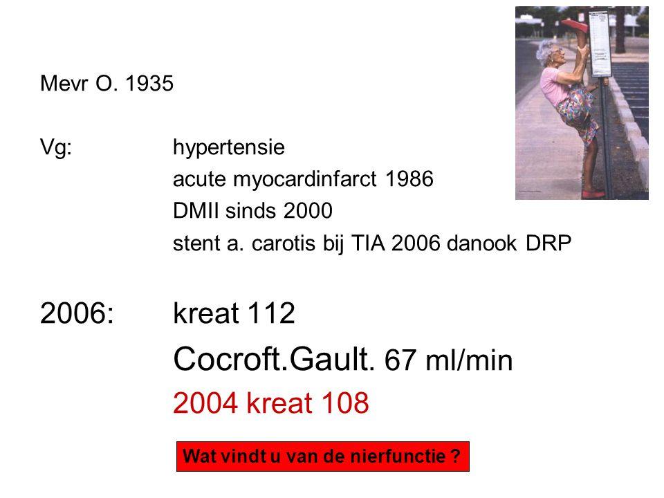 verouderende nieren Afname spiermassa waardoor kreatinine omlaag Cocroft Gault : onderschat nierfunctie bij ouderen MDRD :overschat nierfunctie bij ouderen MDRD en CG niet gevalideerd voor > 70 jr