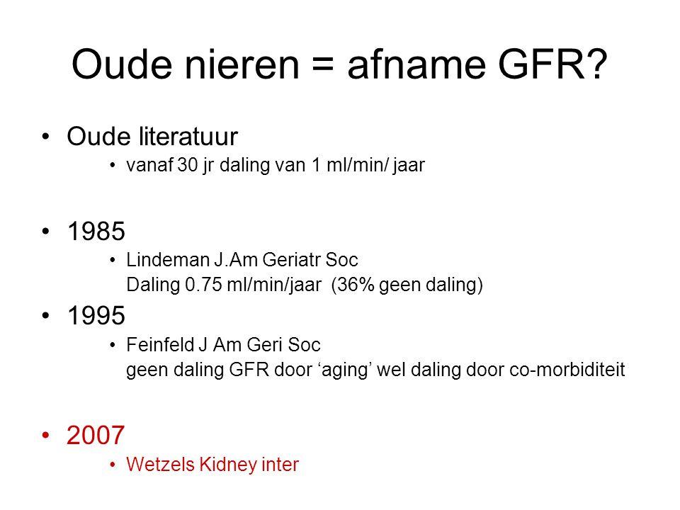 Oude nieren = afname GFR? Oude literatuur vanaf 30 jr daling van 1 ml/min/ jaar 1985 Lindeman J.Am Geriatr Soc Daling 0.75 ml/min/jaar (36% geen dalin