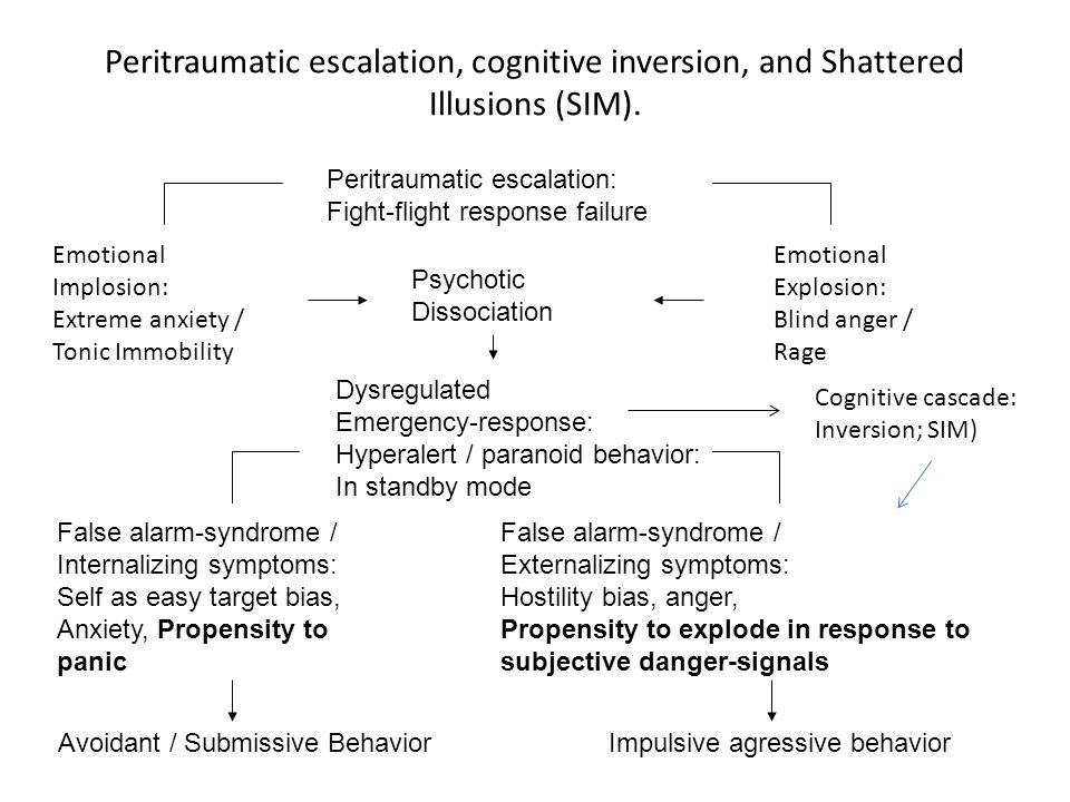 Peritraumatic escalation, cognitive inversion, and Shattered Illusions (SIM). Peritraumatic escalation: Fight-flight response failure Psychotic Dissoc