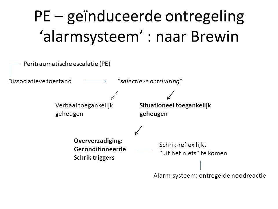 """PE – geïnduceerde ontregeling 'alarmsysteem' : naar Brewin Peritraumatische escalatie (PE) Dissociatieve toestand""""selectieve ontsluiting"""" Verbaal toeg"""
