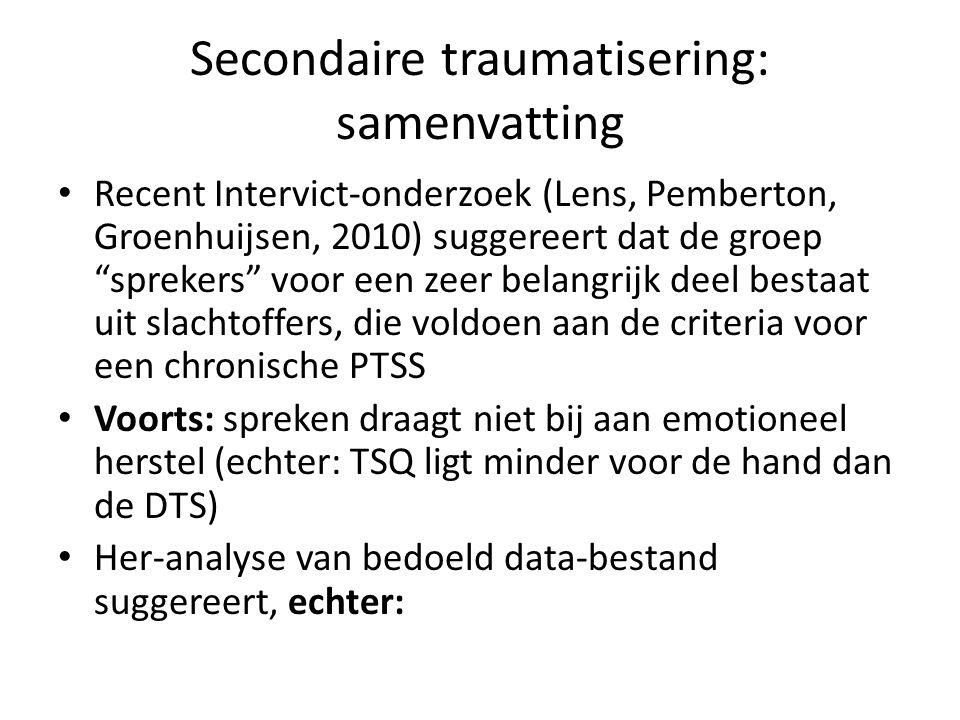 """Secondaire traumatisering: samenvatting Recent Intervict-onderzoek (Lens, Pemberton, Groenhuijsen, 2010) suggereert dat de groep """"sprekers"""" voor een z"""