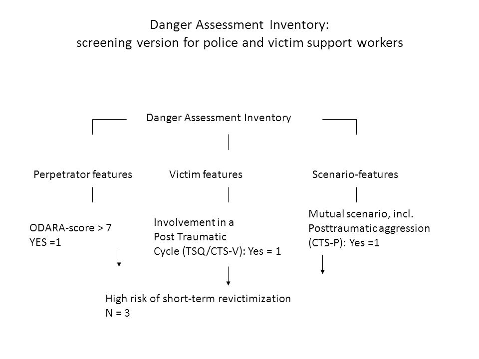 Danger Assessment Inventory: screening version for police and victim support workers Danger Assessment Inventory Perpetrator featuresVictim featuresSc