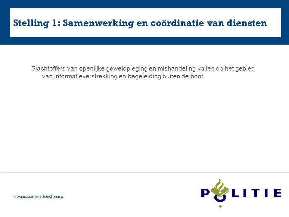 Stelling 1: Samenwerking en coördinatie van diensten Slachtoffers van openlijke geweldpleging en mishandeling vallen op het gebied van informatieverst