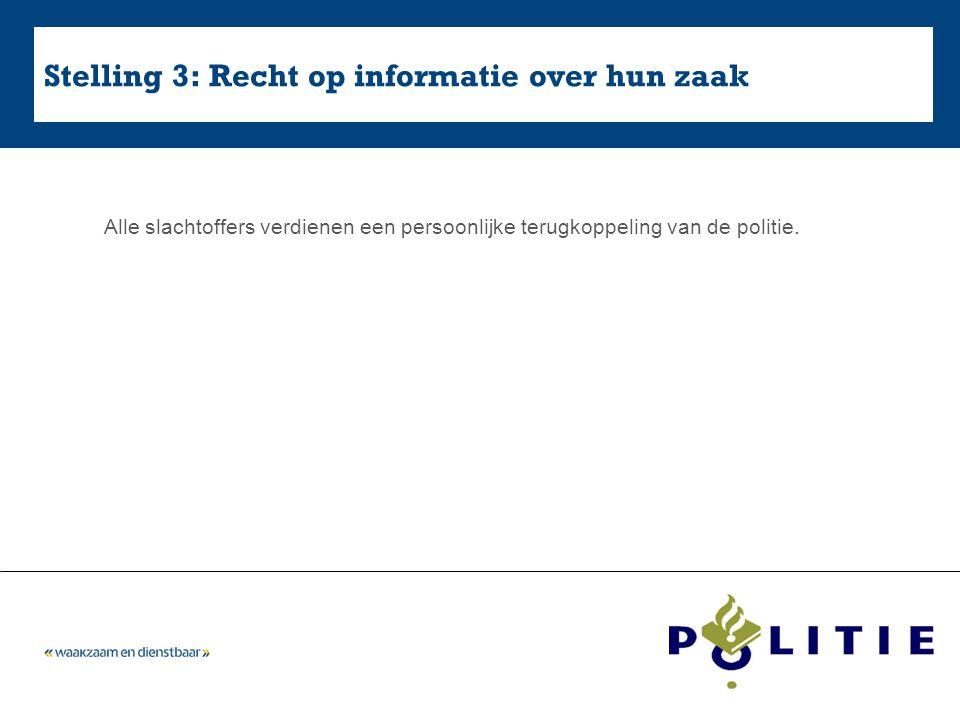 Stelling 3: Recht op informatie over hun zaak Alle slachtoffers verdienen een persoonlijke terugkoppeling van de politie.