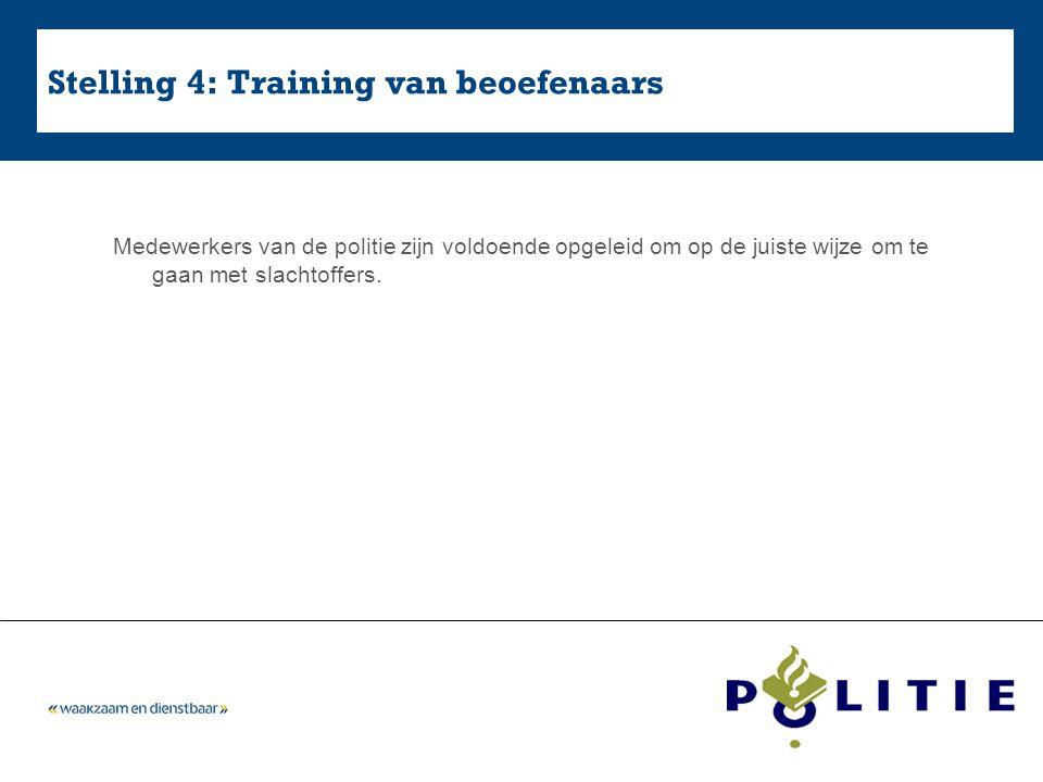 Stelling 4: Training van beoefenaars Medewerkers van de politie zijn voldoende opgeleid om op de juiste wijze om te gaan met slachtoffers.