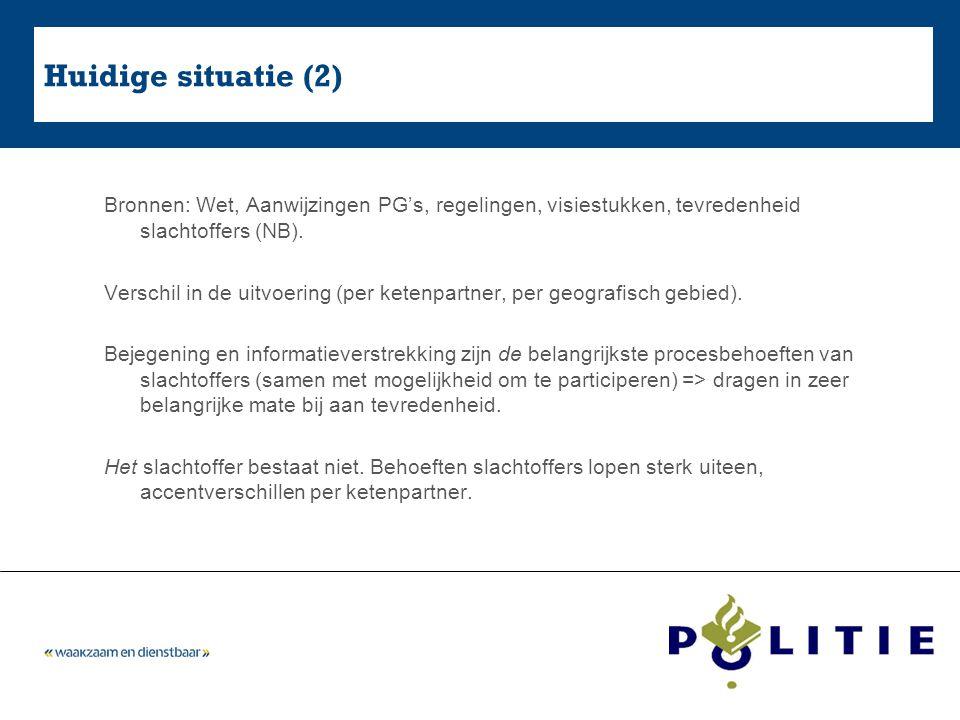 Huidige situatie (2) Bronnen: Wet, Aanwijzingen PG's, regelingen, visiestukken, tevredenheid slachtoffers (NB). Verschil in de uitvoering (per ketenpa