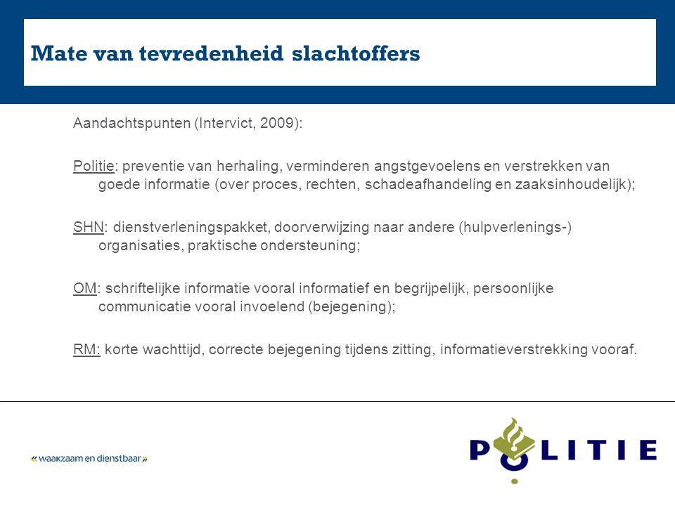 Mate van tevredenheid slachtoffers Aandachtspunten (Intervict, 2009): Politie: preventie van herhaling, verminderen angstgevoelens en verstrekken van