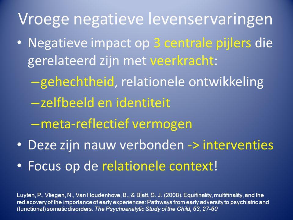 Vroege negatieve levenservaringen Negatieve impact op 3 centrale pijlers die gerelateerd zijn met veerkracht: – gehechtheid, relationele ontwikkeling