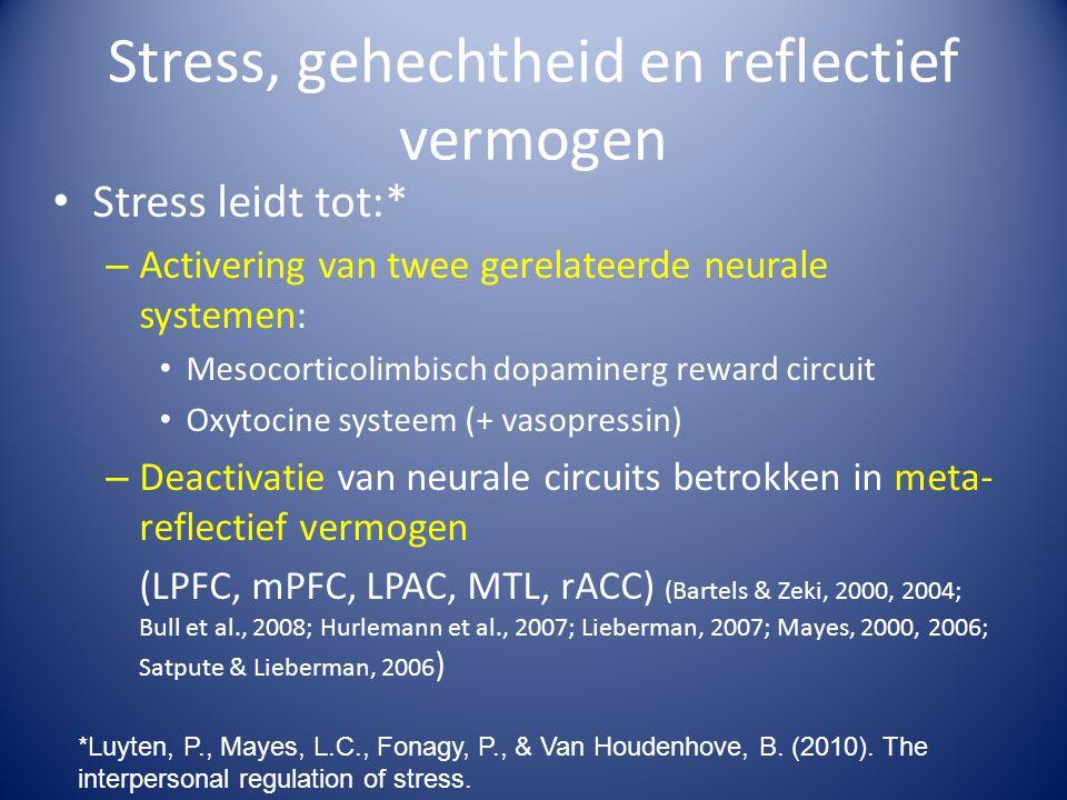 Stress, gehechtheid en reflectief vermogen Stress leidt tot:* – Activering van twee gerelateerde neurale systemen: Mesocorticolimbisch dopaminerg rewa