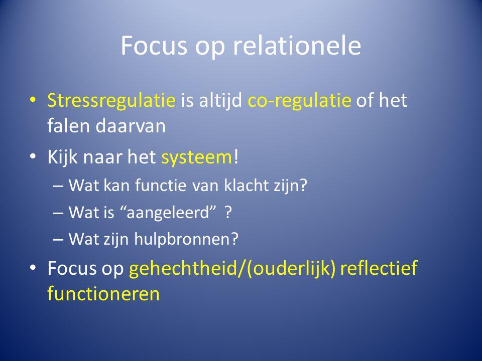"""Focus op relationele Stressregulatie is altijd co-regulatie of het falen daarvan Kijk naar het systeem! – Wat kan functie van klacht zijn? – Wat is """"a"""
