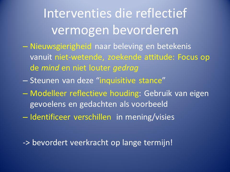 Interventies die reflectief vermogen bevorderen – Nieuwsgierigheid naar beleving en betekenis vanuit niet-wetende, zoekende attitude: Focus op de mind